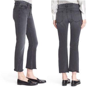 Frame denim le crop mini boot raw hem grey jean 31